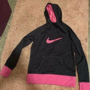Pink/dark grey Nike hoodie. Large